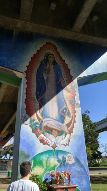 Mural of the Virgin of Guadalupe at Chicano Park in San Diego