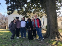 Our group at Slave Haven/Burkle Estate underground railroad site and museum